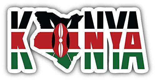 - Kenya Text Map Flag Art Decor Bumper Sticker 6'' x 3''