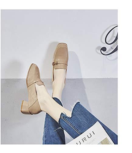 Dans Boucle Pois Une Femmes Tête Les Petites Avec Épais En Simples Printemps Des Abricot Chaussures Cuir Carrée Mocassins Daim wOSxF7qn8