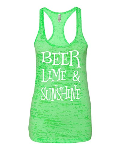 Beer Lime and Sunshine Southern Element Apparel Burnout Racerback Tank Top (Medium, Green)