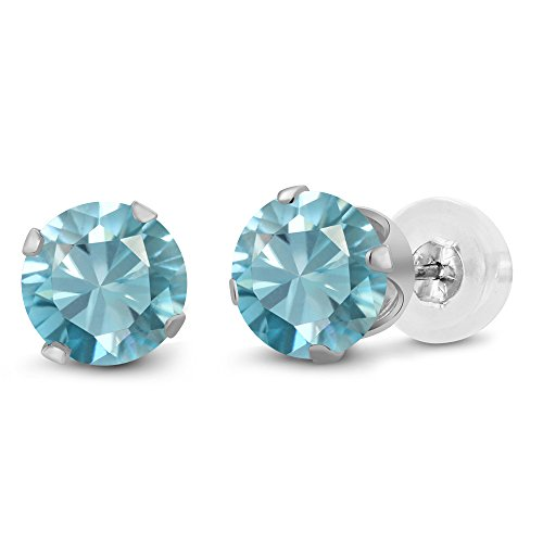 Gem Stone King 2.40 Ct Round 6mm Blue Zircon 10K White Gold Stud -