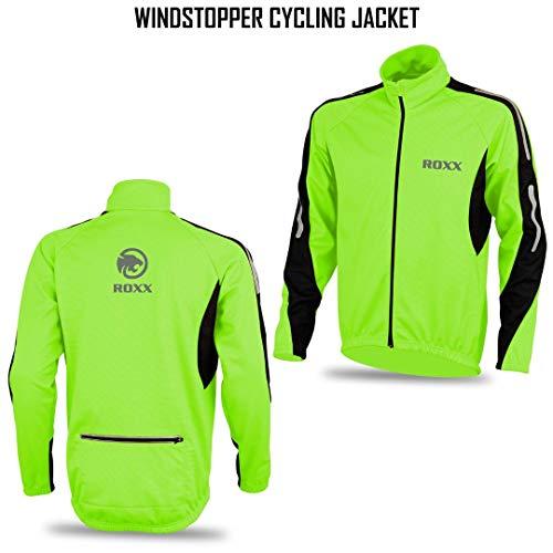 ROXX Mens Performance Lightweight Full Zipper Cycling Jacket Windstopper Thermal Winter Breathable Running Hi viz