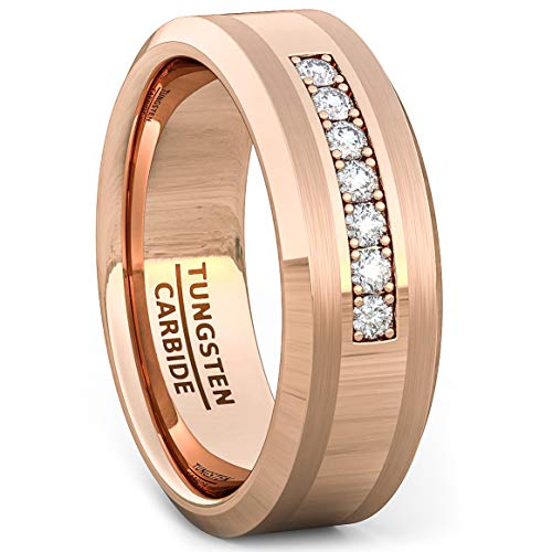 Duke Collections 8mm Rose Gold Tungsten Carbide Ring 7 Cubic Zircon Mens Wedding Comfort Fit (11)