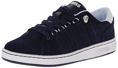 K-Swiss Lozan Suede GS Tennis Shoe (Big Kid),Navy/White,4 M US Big Kid