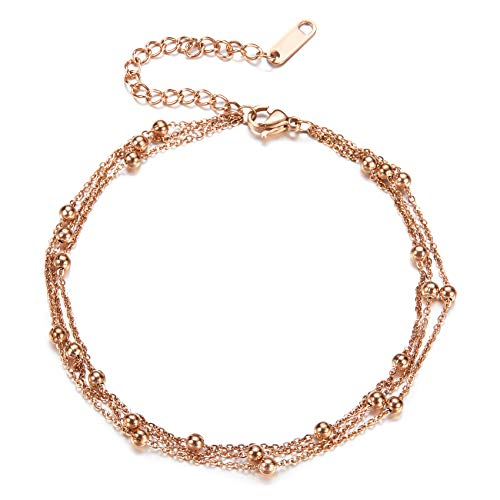 Fesciory Women Stainless Steel Anklet Rose Gold Adjustable Beach Ankle Foot Chain Bracelet Jewelry - Feet Gold