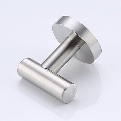 Umi. Essentials - Gancho perchero individual para baño, acero inoxidable cepillado, montaje en pared