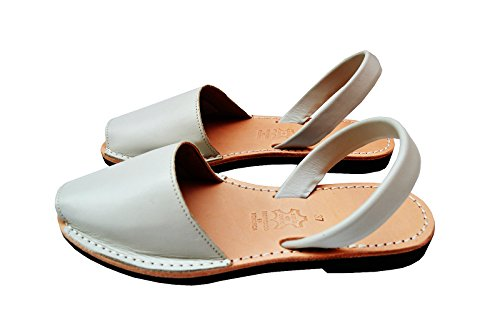 Classic 8 M Avarcas M Menorquinas Simple White Off B 38 EU US Leather White Spaniard Sandals 8Ew5xf