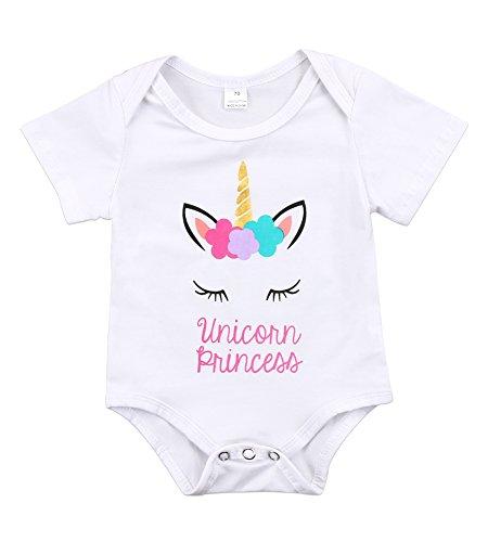 Newborn Baby Girls Unicorn Princess Short Sleeve Romper Bodysuit Summer (White, 0-3 Months)