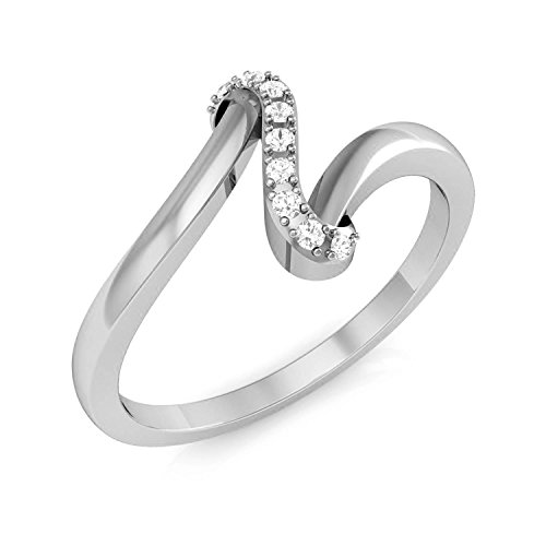 Panache Exports Jewelry For Women, 0.05ct Real Diamonds Ring Simple Rings for Women in 10k White Gold-7 (Real Diamond 0.05 Ct)