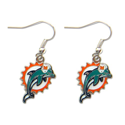 Miami Dolphins Dangle Logo Earring Set Charm Gift NFL