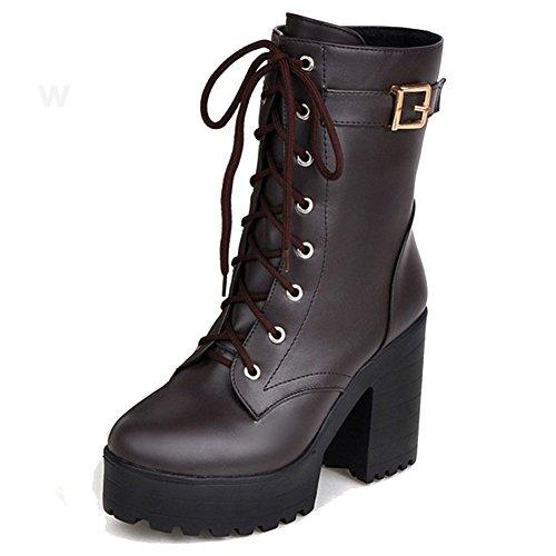Block Mädchen Heels Schuhe Teens Oxford Damen Stiefel High Braun Kampfstiefel Kalb Martin HiTime AqEx6Tvw