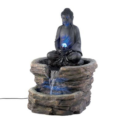 Large Color changing LED Light Thai Hindu BUDDHA Statue Outdoor Fountain