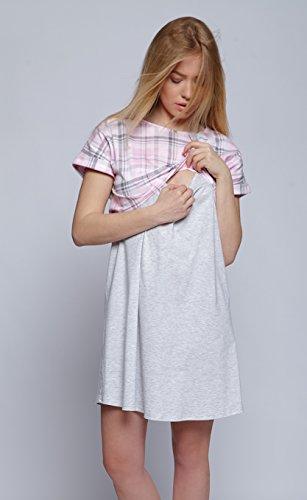 EU notte per A Dolcissima Sensis allattamento camicia Grigio Quadretti da in Rosa made qTptw