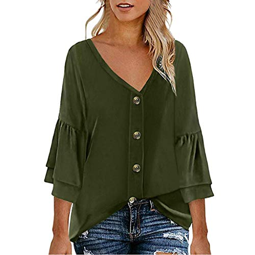 (LIM&Shop  Women Summer Tunic Top Button Up Casual T-Shirt Short Sleeves Crew Neck Flowy Shirt Plus Size Blouses V-Neck Army Green)