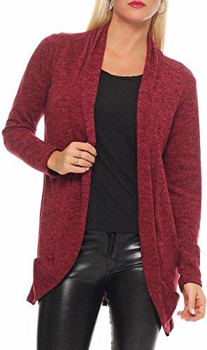 Burgundy Cardigan Long Basic Capote Loose Sweater One Hood Oversize Irregular 5021 Rebeca Malito Women Wrap Bolero Size Waterfall Jacket Casual S6xH6dnw