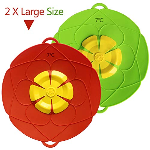 2 X Spill Stopper Lid Cover 11 Inch,Anti Spill Lid Cover,No Boil Over Lid,Pot Cover Silicone Spill Stopper Lid,Boil Over Safeguard,Multi-Function Kitchen Tool (1 Green and 1 Red) (1Green+1Red)