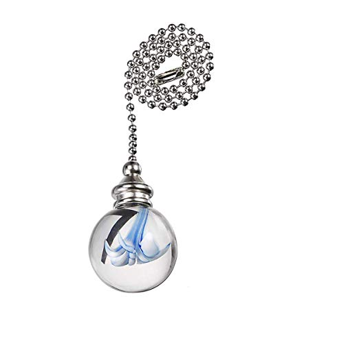 Saim Decorative Ceiling Light Fan Pull Chains Ornament 12 inches Pullchain Gorgeous Hanging Pendants Crystal Glass with Blue Flower Ball Pull Chain for Ceiling Lights, Fans, DZ011,Pack of 1