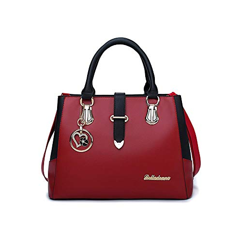 Retro Bag Soft Women's X Wine capacity Red Large Book 23 CM Etc 33 X Insertable Beige Tote 14 Pendant Wallet Tote Exquisite Casual Shoulder Leather XrqwPdq