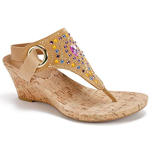(WHITE MOUNTAIN Women's Adeline Wedge Sandal, tan Fabric, 11 M US)