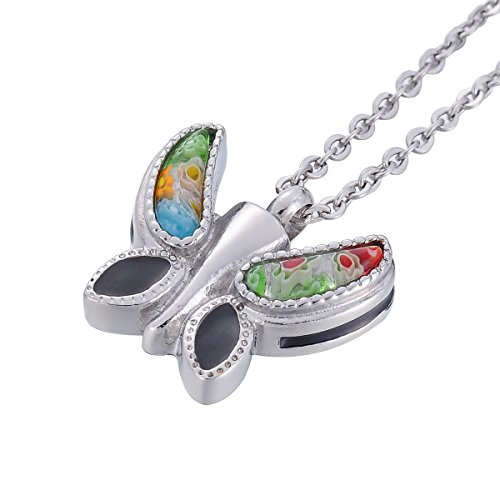 (Cremation Jewelry Murano Glass Butterfly Urn Pendant Necklace for Ashes Memorial Keepsake (Butterfly 1))