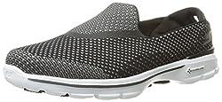 Skechers Performance Women's Go Walk 3 Go Knit Walking Shoe, Black/White, 7.5 M US
