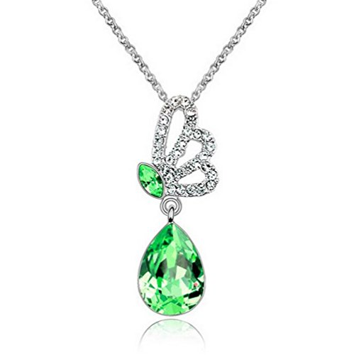 [Yuntun New Design Austrian Crystal Butterfly Wings Pendant Series Jewelry Necklace(Green)] (Baby Fish Costume Diy)