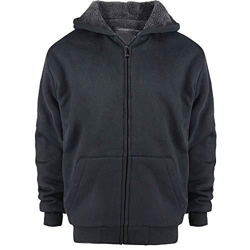 Solid Sherpa Lined Hoodie - Boys Zip Hoodie, Lee Hanton Solid Sherpa Lined Full Zip Hoodie Boys, Sweatshirts Boys(MFJ105b-black-12-we)