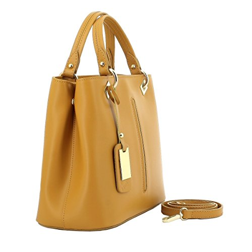 Borsa Donna A Mano In Vera Pelle Colore Giallo - Pelletteria Toscana Made In Italy - Borsa Donna