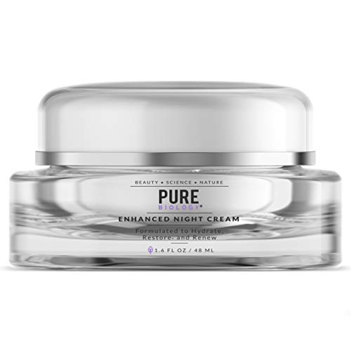Pure Biology Premium Night Cream Face Moisturizer with Retinol, Hyaluronic Acid & Anti Aging, Wrinkle Firming Complexes - Collagen Boosting Skin Care for Men & Women, 1.6 oz