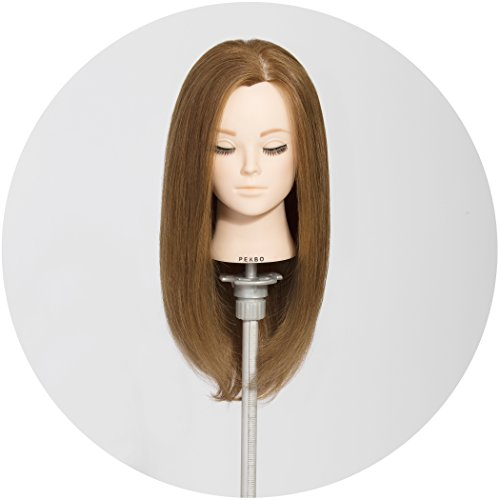PEKBO 18 inch 100% Real Human Hair Mannequin Training Head Model (Include Makeup Kit)