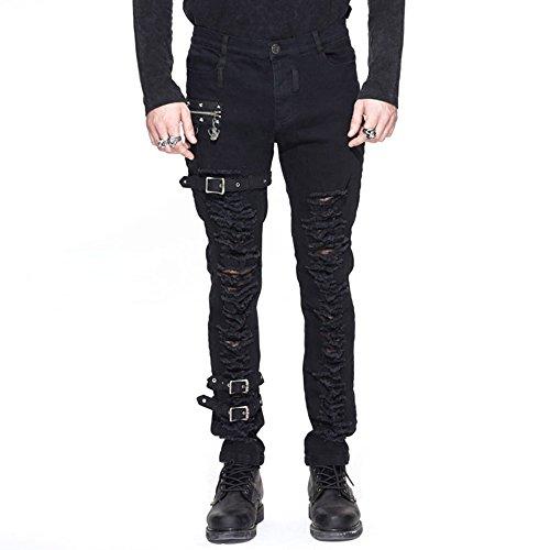 Devil-Fashion-Punk-Men-Black-Hole-Pencil-Pants-Gothic-Steampunk-Mens-Casual-Skinny-Long-Trousers-M-Black