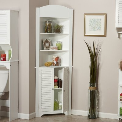 Ellsworth 23.25' x 68.31' Corner Free Standing Linen Tower- With Contemporary Style That Blends Well with Most Bathroom Decors- Has Two Open Shelves and a Closed Cabinet- White Finish*