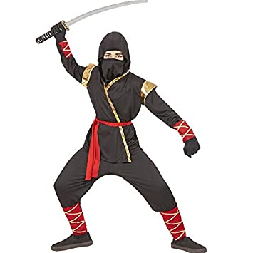 Ninja Fighter Kinder Jungen Kostum Black Red Dragon Fire Dragon