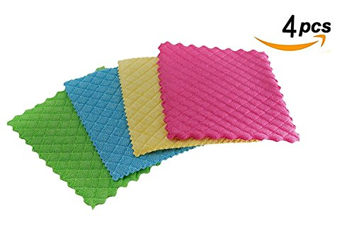 Betwoo Microfiber Dish Cloths Washcloths with Sponge Pad for Kitchen (4 Pack)