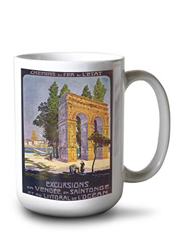 (Lantern Press Vend?e, France - Roman Aqueduct Scene; Coastal Region and Saintonge; State Railway Postcard (15oz White Ceramic Mug) )