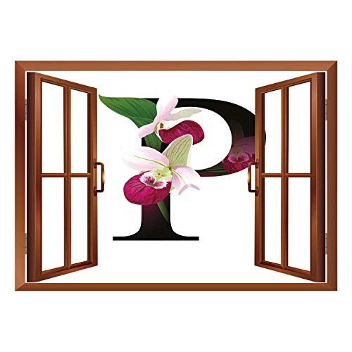 SCOCICI Removable 3D Windows Frame Wall Mural Stickers/Letter P,Lady Slipper Flower with Dark Colored Letter P from Alphabet ABC Print Decorative,Magenta Black Green/Wall Sticker Mural ()