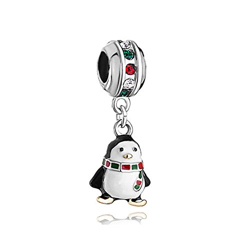 LovelyJewelry Penguin Charm White Drip Gum scarf colorful crystal Beads For Bracelet
