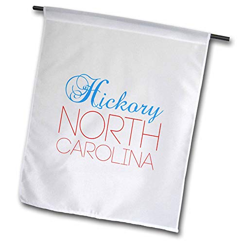 3dRose Alexis Design - American Cities North Carolina - Hickory, North Carolina, red, Blue Text. Patriotic Home Town Gift - 18 x 27 inch Garden Flag (fl_303468_2) (Carolina Hickory North)