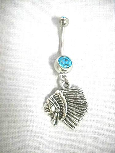 Head Barbell - New Tribal Chief Indian Head Profile on 14g Turquoise Blue Belly Ring Barbell KEZ-1794