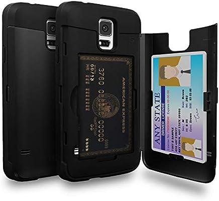 TORU CX Pro Funda Galaxy S5 Carcasa Cartera con Tarjetero Oculto y Espejo para Samsung Galaxy S5 / S5 Neo - Negro Mate