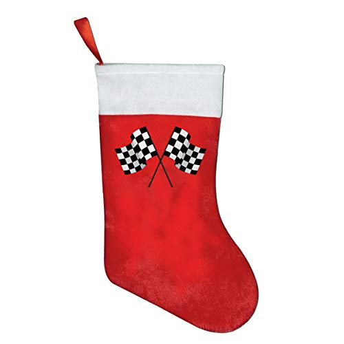 Checkered Flags Race Car Flag Red Felt Classic Christmas Stockings Gifts ()