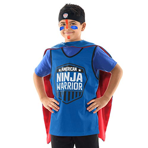 American Ninja Warrior Costume Set – Deluxe Version - Headband, Blue Jersey, Face Paint, Reversible Cape