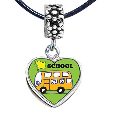 GiftJewelryShop Silver Plated Fun School Bus Photo Flower Head Dangle Heart Bead Charm Bracelets