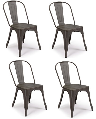 SET OF 4 Tolix Style Iron Chairs, WRIGHT w Wood Top Chair, Sturdy/Stackable Vintage Tabouret Chair, Bistro Chair, Café Chair Indoor and Outdoor Armless with Back