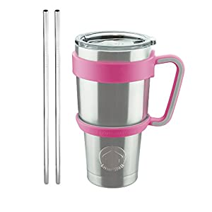 Livin' Well 30oz Tumbler Rambler Mug Set with Handle, Lid and Stainless Steel Straws – Double Walled & Vacuum Sealed To Keep Drinks Cold for 24 Hours – Pink