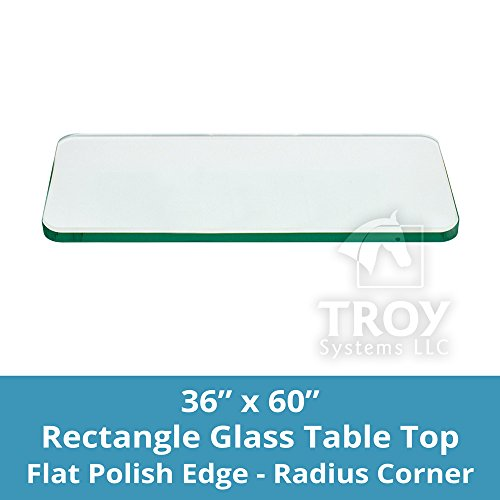 TroySys Rectangle 3/8 Inch Thick Flat Polished Tempered Glass Table Top Radius Corner, 36