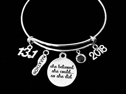 She Believed She Could 13.1 or 26.2 Marathon Jewelry Adjustable Bracelet Expandable Silver Charm Bangle Trendy Race Runner One Size Fits All Gift Birthstone Personalization Option Bangles Trendy Jewelry