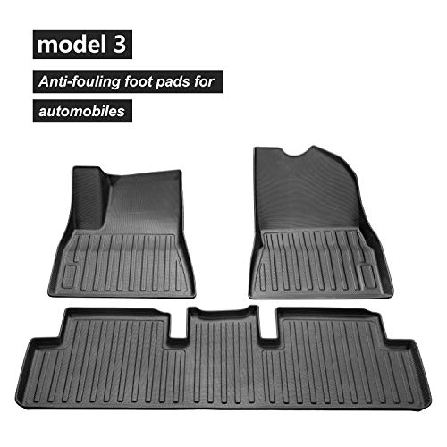 TOPlight 3D Floor Mats Compatible for 2017-2019 Tesla Model 3 Complete Set Custom Fit Unique Black TPE All-Weather Floor Mats :Front, Rear, Full Set Liners