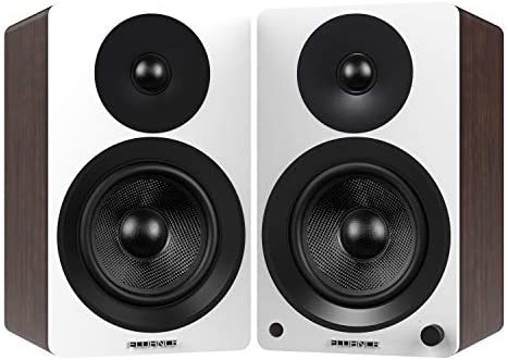 Fluance Ai60 High Performance Powered Two-Way 6.5 2.0 Bookshelf Speakers with 100W Class D Amplifier for Turntable, PC, HDTV Bluetooth aptX Wireless Music Streaming White Walnut
