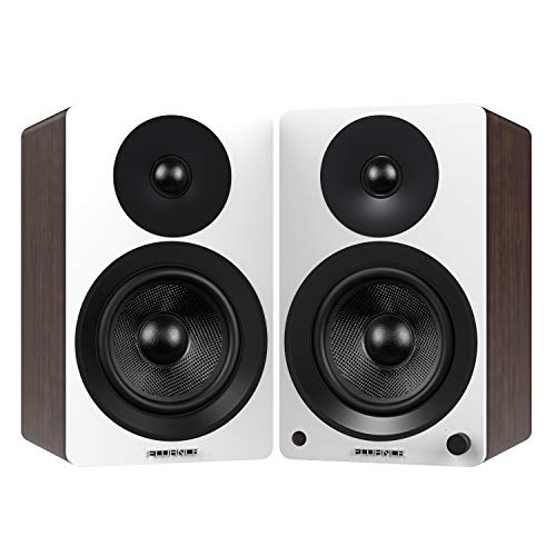 Fluance Ai60 High Performance Powered Two-Way 6.5' 2.0 Bookshelf Speakers with 100W Class D Amplifier for Turntable, PC, HDTV & Bluetooth aptX Wireless Music Streaming (White Walnut)
