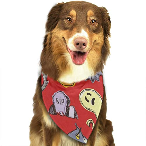 HJudge Dog Bandana Halloween Pumpkin Ghost Dog Scarf Stylish Pet Bandana Triangle -
